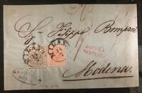 1857 Milan Austrian Empire Letter Sheet Cover Lombardy-Venetia Stamp Sc #4-5