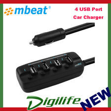 mbeat 4 USB Port 8A 40W Rapid Car Charger/LED for iPhone/iPad/Android MB-USBC480