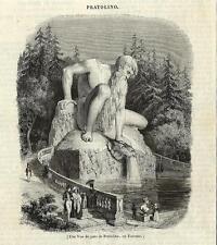 Stampa antica PRATOLINO Statua Colossale Firenze 1842 Old antique print Florence