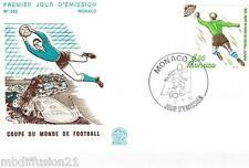 1982-ENVELOPPE ILLUSTREE**FDC 1°JOUR** FOOTBALL-MONACO**TIMBRE Y/T 1315