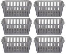 37cm Silver Plastic Handy Basket Storage Basket - Set Of 6