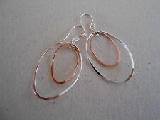 Graceful Sterling Silver & Copper Wire Dangle Earrings  121203