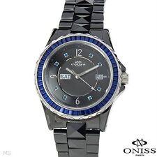 ONISS LADIES BLACK CERAMIC BLUE CRYSTALS QUARTZ WATCH MODEL on620-lb/blu