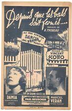 Depuis que les bals sont fermés..de DAMIA & Marcel VERAN Paroles THOREAU en 1943