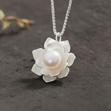 1Pc New Womens Pretty Snow Lotus Pearl Necklace Pendant DIY Jewelry Making Gifts