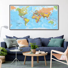 Huge Big large World Map Poster Travel Education Art Canvas Modern 64 x 32 Inch