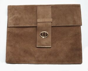 Vintage Gorgeous Dark Tan Suede Leather Large Envelope Purse NEW Old Stock