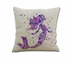 SLS Cotton Linen Decorative Throw Pillow Case Cushion Cover Purple Mermaid 18 ""