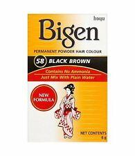 BIGEN HAIR COLOR 58 (BLACK BROWN) Hair Dye Powder + Free Gift