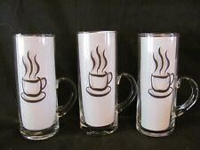 "(3) Tall LATTE GLASSES MUGS  6 1/8"" x 2 1/4"" - Hot Drink Motif - Unmarked - XLNT"