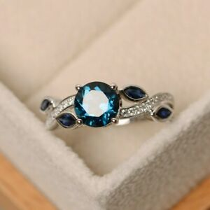 Natural Round Cut London Blue Topaz Ring-Engagement Ring-December Stone ring
