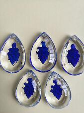 5LOT Carved Blue leaf Chandelier Crystal Lamp Prisms Part Hanging Drop 50mm