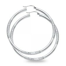 Big Round Hoop Earrings Solid 14k White Gold Diamond Cut French Lock Fancy New