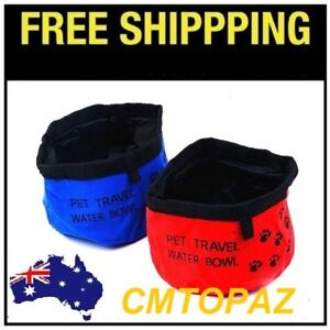 Dog Portable Travel Water Bowl Foldable Collapsible Dog Bowl U-Pick Red or Blue