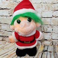 Vintage Christmas Troll Plush Santa Trolio Trolls 1992 Green Hair Chosun 9.5 in