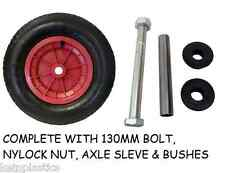 "16"" RED PNEUMATIC WHEELBARROW WHEEL, TYRE  4.80/4.00-8 + 130MM AXLE SET"
