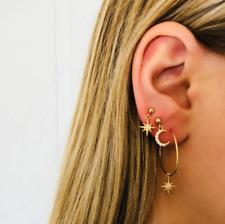 Fashion Women 4Pcs/Set Boho Vintage Crystal Star Moon Hoop Dangle Stud Earrings
