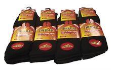 12 Pairs Mens Thermal Socks Outdoor Work Black Thermal Socks UK 6-11 ABS