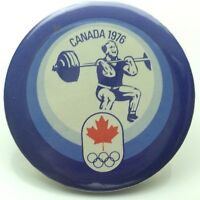 1976 Canada Montreal Olympic Heavy Weight Lifting Pin Back Button C753