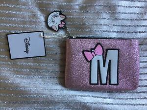 New Disney Primark Marie Cat M Pink glitter Mini make up bag coin wallet purse