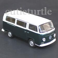 Welly 1972 Volkswagen T2 Samba Bus 1:38 Diecast Toy Car 43247 Green w White Top