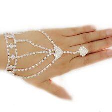 Chain With Finger Ring Hand Chain Bangle Bracelet Double Peach Heart Bracelet