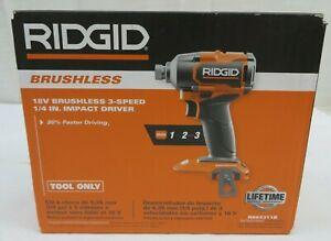 "Ridgid R862311B 18V Brushless 3 Speed 1/4"" Impact Driver (Bare Tool)"