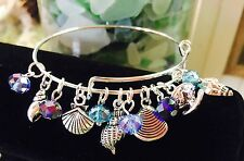 Sea conch & Clam Shells/Ocean *12*charms-Silver charm Expandable Bangle Bracelet