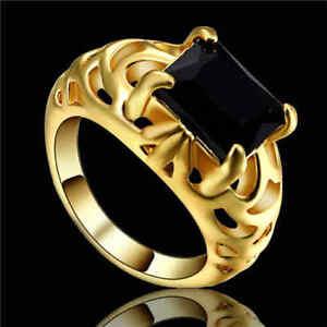 Big Stone Black Sapphire CZ Gems Wedding Ring 10KT Yellow Gold Filled Size 6