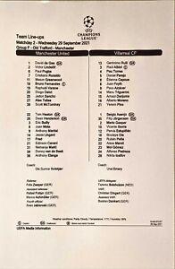 Man Utd v Villarreal 29/9/2021, Champions League Group F, UEFA Team Line Up