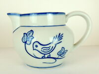 Blue Bird Pitcher Vase Handpained Portugal Sweet Farm Country Danish Type Style