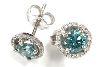 1 ct tw Natural Blue & White Diamond Solid 14k Gold Halo Stud Earrings (8 MM)