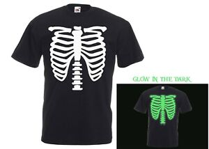 GLOW in the Dark Skeleton Rib Cage Halloween Costume Party Novelty T-Shirt Tee