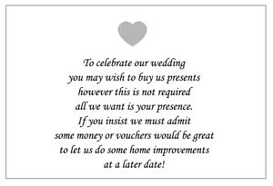 10 Personalised Wedding Money Poem / Honeymoon Wish / Gift Poem Cards