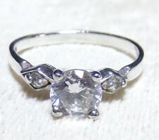 Cz Engagement Ring Sz 5.75 Ladie's 925 Sterling Silver .75ct Cubic Zirconia