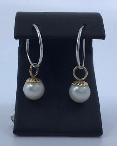 Vintage 14K Gold Earrings with 14k Gold  8mm Pearl Enhancers