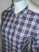 Button Down Collar Check Fitted Tops & Shirts for Women