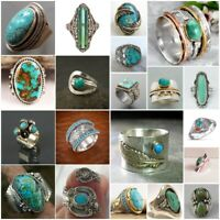 New Ring 925 Silver Turquoise Gems Women Men Jewelry Wedding Engagement Sz 6-11