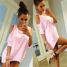 Fashion Summer Women Off Shoulder Short Sleeve Casual T-Shirt Tops Loose Blouse