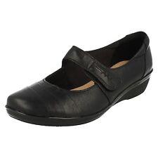 e95832dd24d Clarks Ladies Black Leather Rip Tape Fastening Mary Jane Shoe UK 7 EUR 41