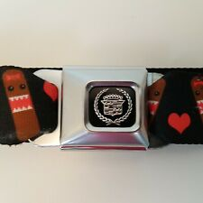 Buckle Down Upcycled GM Cadillac Black Seatbelt Belt Characters and Hearts