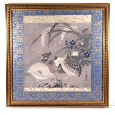 Vintage Tosa Mitsuoki Woodblock Print Quail & Flowers Matted Gilded Wooden Frame