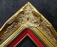 "4"" Gold Leaf Wood Antique Picture Frame wide photo art wedding gallery B9GR"
