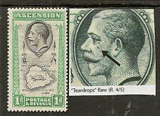 ASCENSION 1934 KGV 1d TEARDROP FLAW SG22a