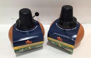 2 TIKI Brand Clean Burn Tabletop Firepiece Smokeless Burn Torch Tan Ceramic