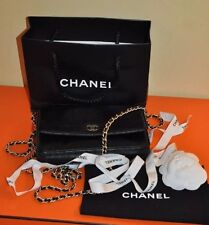 CHANEL Authentic Camellia Wallet on Chain WOC Black