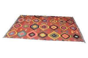 6x9 Handmade Vintage Distressed Geometric Pink Turkish Wool Kilim Area Rug