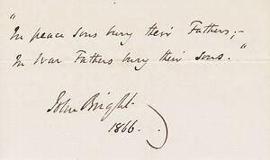 John Bright, British Orator & Politician, signature on 1866 card