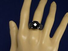 BLACK SPINEL 10.70CTW - RHODIUM OVER STERLING SILVER COCKTAIL RING - SIZE 7