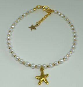 Glass Pearl Beaded Anklet Bohemian Starfish Anklet Beach Hippy Anklet Gold Tones